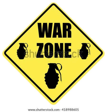 War zone warning sign isolated over a white background - stock photo