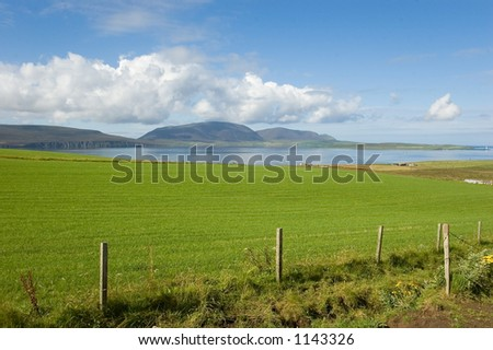 Ward hills in shape of a whale back at Orkney's islands - stock photo