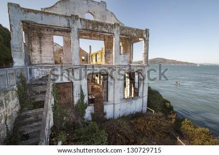 Warden's House on Alcatraz Island off San Francisco - stock photo