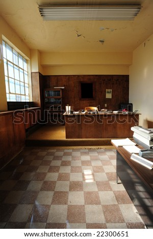 wardens office in vintage prison - stock photo