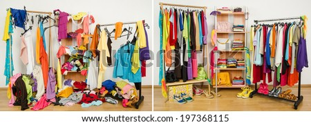 Wardrobe before messy after tidy. Untidy cluttered woman dressing with clothes and accessories vs. closet nicely arranged on hangers and shelf. - stock photo
