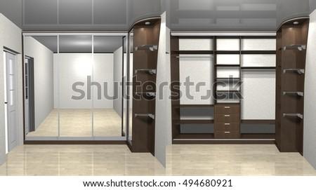 Open Closed Metal Modern Elevator Doors Stock Vector