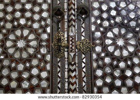 Wardrobe detail with mother of pearl embossment in Topkapi Palace , Istanbul - stock photo