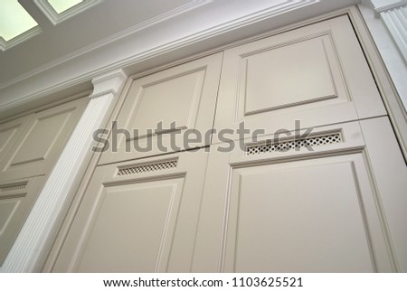 Wardrobe Doors Ventilation Grilles Classic Interior Stock Photo