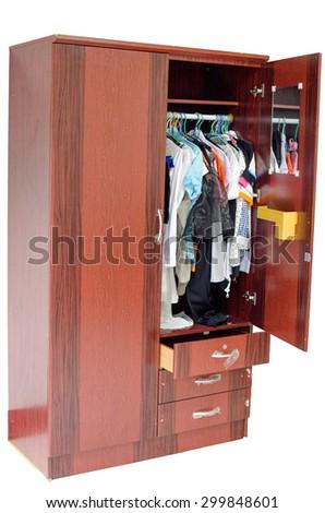 wardrobe on white background - stock photo