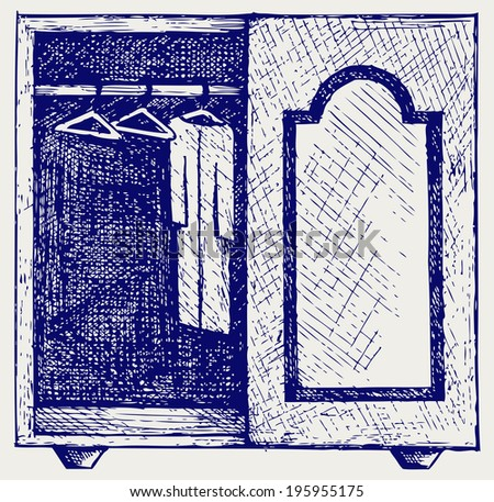 Wardrobe with clothes. Doodle style. Raster version - stock photo