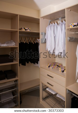 Wardrobe with hangers and boxes