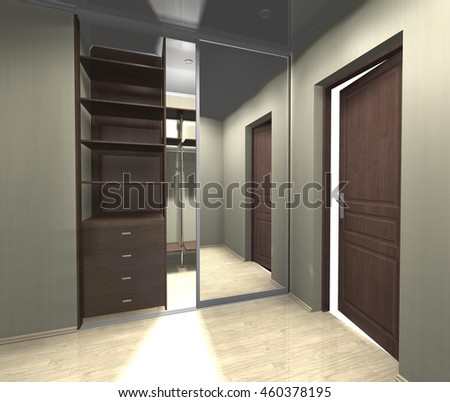 wardrobe with mirrored sliding doors 3D rendering, inner filling