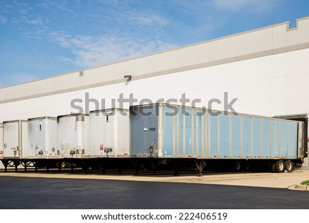 Warehouse and loading docks logistics - stock photo