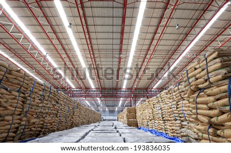 Warehouse and the surgar bag - stock photo