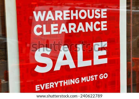 Warehouse clearance sale red sign - stock photo