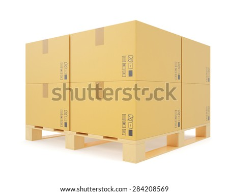 Warehouse concept of stacked cardboard boxes on wooden pallets for transportation of shipping isolated on a white background. 3d illustration High resolution - stock photo