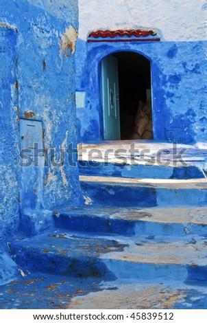 Warehouse Entrance inside the Blue Medina at Chefchaouen, Morocco - stock photo