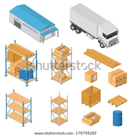 Warehouse equipment icons - stock photo