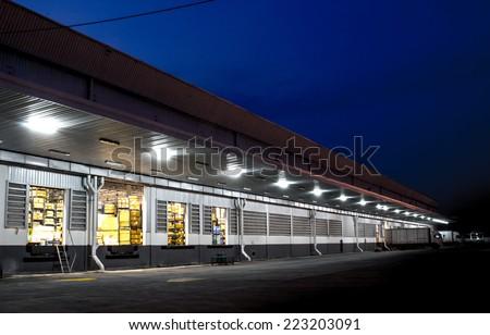 warehouse evening - stock photo
