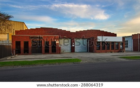 warehouse facade in the evening
