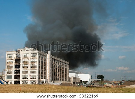 Warehouse Fire Smoke - stock photo