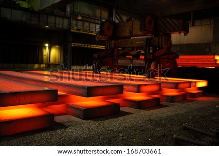 Warehouse heavy steel hot ingots