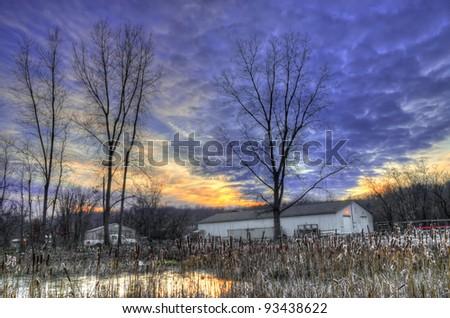 Warehouse in sunset (at Bandemer Park, Ann Arbor, Michigan, USA) - stock photo