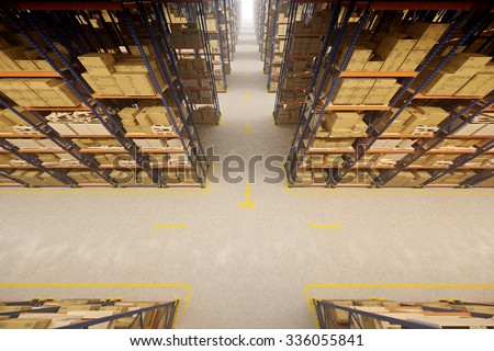 Warehouse interior with racks and crates - stock photo