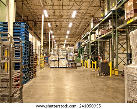 warehouse of a grocery store - stock photo