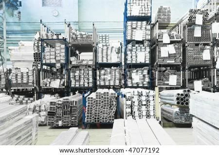Warehouse of an aluminum profile - stock photo