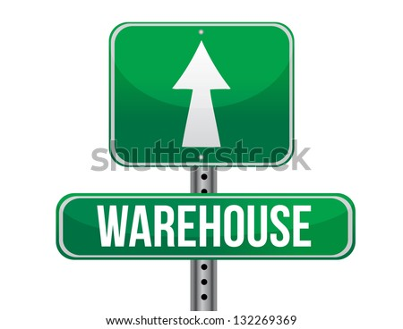 warehouse road sign illustration design over a white background