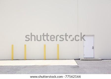 warehouse wall & door - stock photo