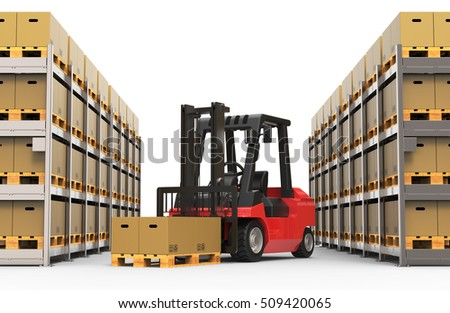 Warehouse with forklift truck 3D rendering