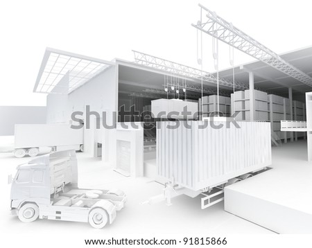 warehouse with loading dock - shipping and cargo industry - stock photo