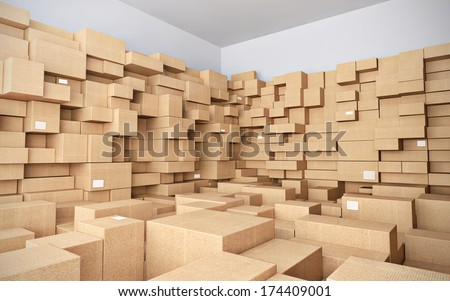 Warehouse with many cardboard boxes - 3d illustration - stock photo