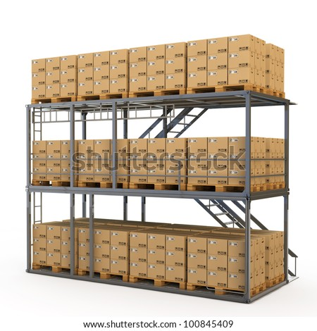 Warehouse with many stacked boxes on pallets - stock photo