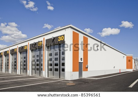 Warehouse with modern architecture on a sunny day