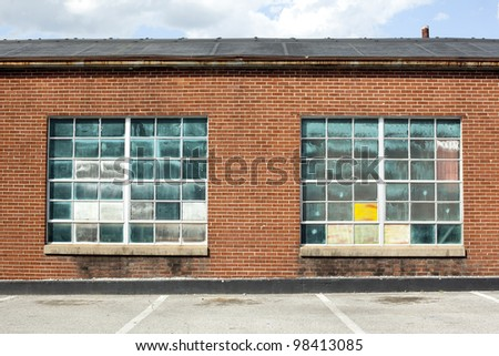 warehouse with vintage glass background - stock photo