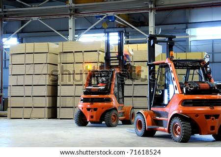 warehousing of wooden slabs - stock photo