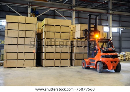 warehousing of wooden slabs - stock photo