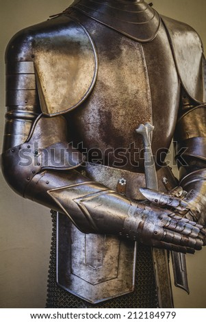 warfare, medieval armor made of wrought iron - stock photo