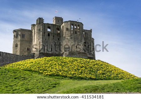 Warkworth Caslte in Northumberland in England
