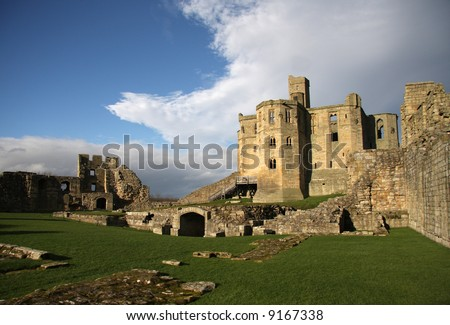 Warkworth Castle in Northumberland is full of history where battles have been won and lost to gain ownership of this magnificent property - stock photo