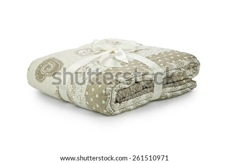 Warm and confortable duvet on white background - stock photo