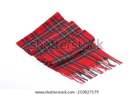 Warm and soft red Tartan Scarves isolated on white background.