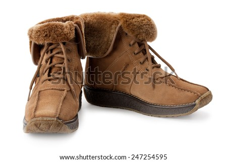 warm boots with lapel sheepskin isolated on white background