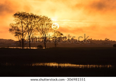 Warm calm sunset over swamps in Ovar, Portugal. - stock photo