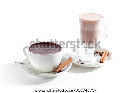 Warm Chocolate Cups over White - stock photo