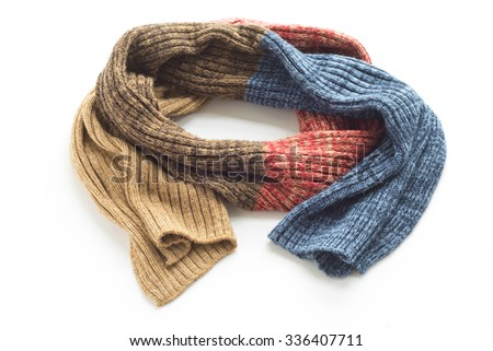 Warm colored scarf on a white background - stock photo