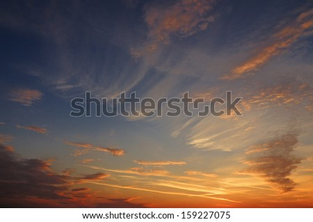 Warm colors on morning sky, before sunrise - stock photo
