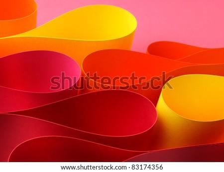 Warm colors palette arc wave form papers - stock photo
