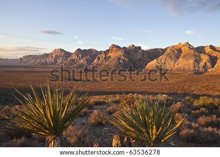 Warm dawn light at Red Rock National Conservation Area in southern nevada, - stock photo