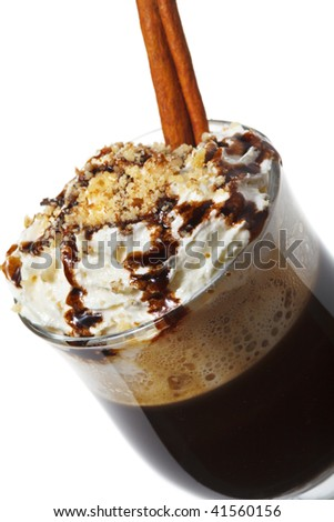Warm Drink - Chocolate with Rum and Coffee. Served with Whipped Cream and Cinnamon Stick and Nuts - stock photo