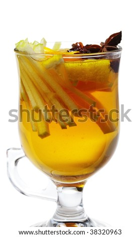 Warm Drink - Mulled White Wine with Spice and Apple Slice and Anise